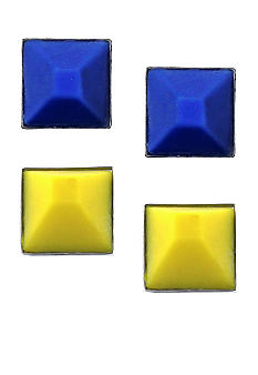 BCBGeneration Blue and Yellow Stud Earrings Duo