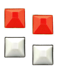 BCBGeneration Orange and White Studs Earrings Duo