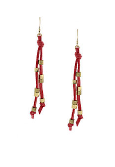 BCBGeneration Coral and Gold Cube Drop Earrings