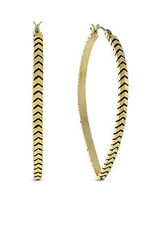 BCBGeneration Chevron Textured Hoop Earrings