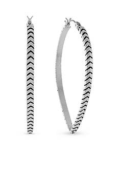 BCBGeneration Chevron Teardrop Textured Hoop Earrings