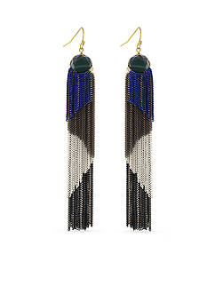 BCBGeneration Gold-Tone Boheme Fringe Painted Tassel Earrings