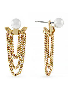 BCBGeneration Core Delicate Pearl with Swag Multi Chain Front to Back Earrings
