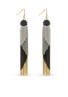 BCBGeneration Gold-Tone Jet Tassel Town Linear Earrings