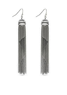 BCBGeneration Silver-Tone Tassel Town Linear Earrings
