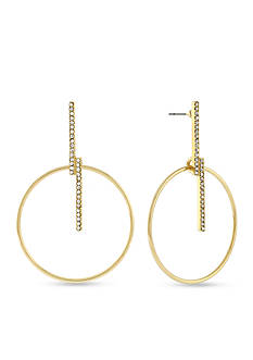 BCBGeneration Hoop Dreams Crystal Bar Drop Earrings