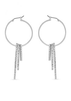 BCBGeneration Hoop Dreams Crystal Bar Hoop Earrings