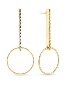 BCBGeneration Hoop Dreams Crystal Bar Linear Earrings