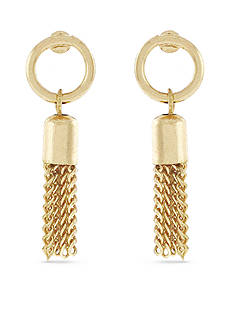 BCBGeneration Fringe Benefits Circle Tassel Drop Earrings