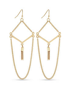 BCBGeneration Fringe Benefits V Tassel Drop Earrings