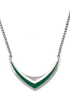 BCBGeneration Beatrix Kiddo Silver and Green Frontal Necklace