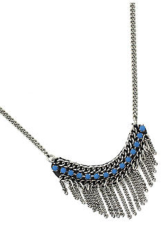BCBGeneration Flirty Fringe Blue Stone Collar Necklace