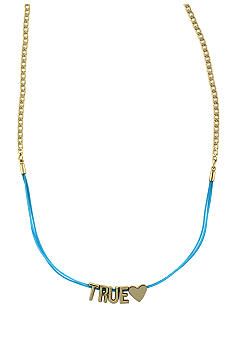 BCBGeneration Blue and Gold True Mini Affirmation Necklace