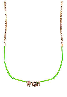BCBGeneration Green and Rose Gold Wish Mini Affirmation Necklace
