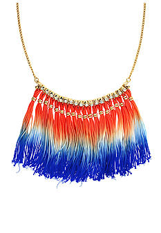 BCBGeneration Coral and Blue Dip Dye Tassel Necklace
