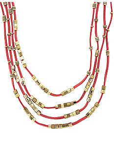 BCBGeneration Coral and Gold Suede Cube Necklace