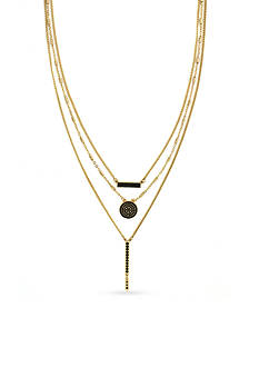 BCBGeneration Gold-Tone Jet Pave Multistrand Necklace