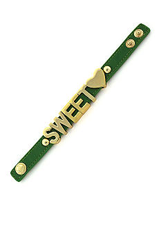 BCBGeneration Green and Gold Sweet Heart Affirmation Bracelet