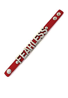 BCBGeneration Coral and Silver Fearless Affirmation Bracelet