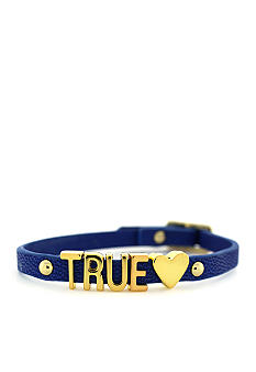 BCBGeneration Blue and Gold True Love Mini Affirmation Bracelet