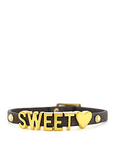 BCBGeneration Brown Glitter Sweet Heart Mini Affirmation Bracelet