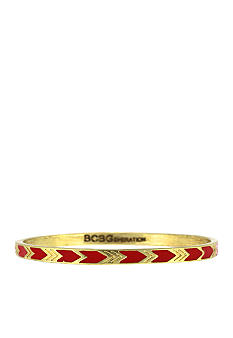 BCBGeneration Gold and Red Chevron Bangle