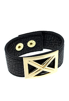 BCBGeneration Black and Gold Crossed Bracelet
