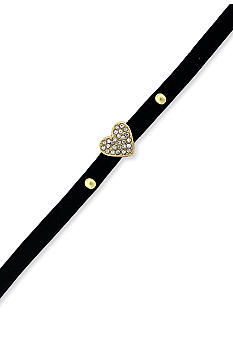 BCBGeneration Black and Gold Heart Mini Charm Bracelet