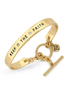 BCBGeneration Gold-Tone Crystal Keep The Faith Phrases Cuff Bracelet