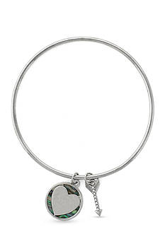 BCBGeneration Silver-Tone Heart Charm Bangle Bracelet