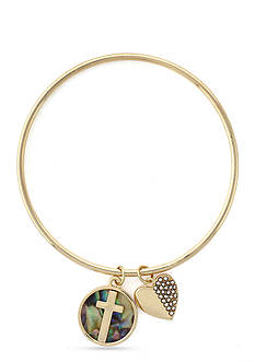 BCBGeneration Gold-Tone Mother of Pearl Cross Charm Bangle