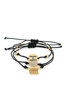 BCBGeneration Gold-Tone Sparkle Mini Message Stack Bracelets