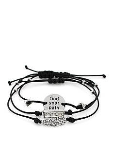 BCBGeneration Silver-Tone Discovery Mini Message Stack Bracelets