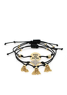 BCBGeneration Gold-Tone Journey Mini Message Stack Bracelets