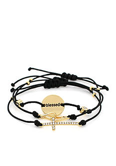 BCBGeneration Gold-Tone Cross Mini Message Stack Bracelets