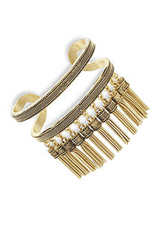 BCBGeneration Gold-Tone Golden Girl Tassel Cuff Bracelet