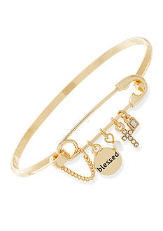 BCBGeneration Gold-Tone Blessed Charm Bangle Bracelet