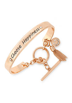 BCBGeneration Rose Gold-Tone Choose Happiness Toggle Bracelet
