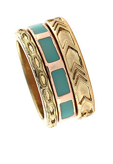 BCBGeneration Two Tone and Blue Stacked Ring Set