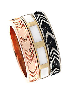 BCBGeneration White and Rose Gold Stacked Ring Set
