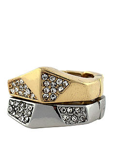 BCBGeneration Two-Tone Vaulted Angles Stacked Rings
