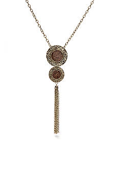 Ruby Rd On The Prowl Leopard Collection Disc and Tassel Necklace