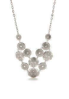 Ruby Rd Metal Discs Statement Necklace