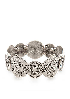 Ruby Rd Silver-Tone Metal Discs Stretch Bracelet