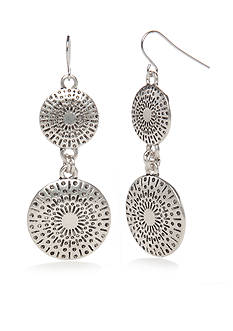 Ruby Rd Silver-Tone Metal Discs Double Drop Earrings