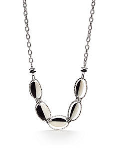 Ruby Rd Silver-Tone Modern Tribes Black and White Collar Necklace
