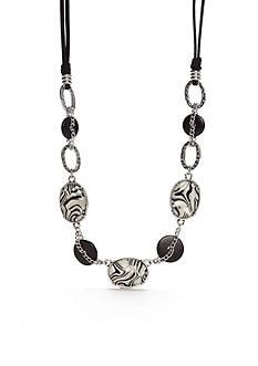 Ruby Rd Silver-Tone Modern Tribes Black Cord Collar Necklace