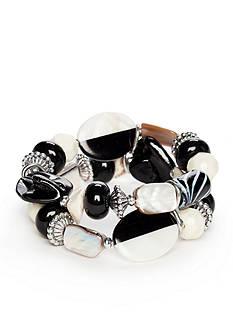 Ruby Rd Silver-Tone Modern Tribes Stretch Bracelet