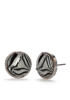 Ruby Rd Silver-Tone Modern Tribes Button Earrings