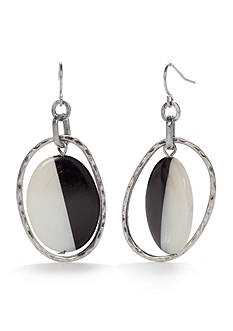 Ruby Rd Silver-Tone Modern Tribes Oval Drop Earrings